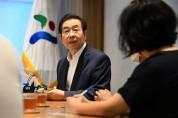 박원순 서울시장, 환경시민단체 대표단과 대화