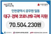 인천시, 공무원 노조와 함께 대구 ‧ 경북 지원 '코로나19' 성금 모금